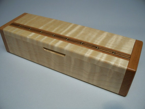 Handcrafted Tiger Maple & Cherry Inlay Box