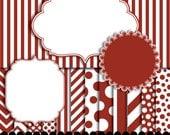 Red digital paper frame pack, frame clip art red, Chevron paper, polka dot paper, stripe paper scrapbooking : p0176 3s0450 IP