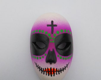 Halloween / Day of the Dead Dia de los Muertos Calavera medium Sugar Skull Hand-painted porcelain mask Purple, Green, and Orange