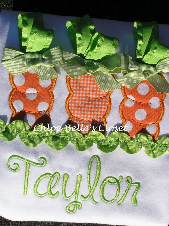 Carrot Ribbon Shirt sizes 6/12 m - 8 Y