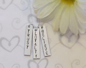 TRUST-LOYALTY-BELIEVE -  Hand Stamped Jewelry - Rectangle Trio Necklace - Sterling Silver Chain - Gift box included