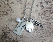2 Custom Hand-Stamped Pendants Necklace