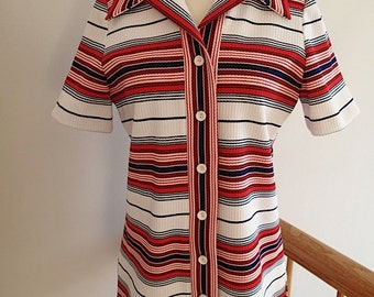Vintage Glen Echo Sportswear Patriotic Polyester Blouse
