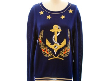 Nautical Anchor Sweater by Liz Claiborne - Size S/M - Navy with Gold - CUTE