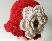 Cherry Red Crochet Flapper Hat with Large Cream Flower, Newborn to 5T-Preteen - MADE to ORDER