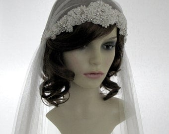 1920s style wedding  veil -  couture bridal cap veil  - Adore