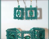 Emerald green glamour style jewelry set bracelet and earrings with crystal pearls Japanese toho seedd bead RAW