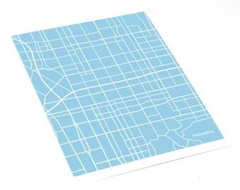 Pasadena Map Print City Art / California City Map Wall Art / 8x10 / Personalized colors