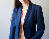 Navy Blazer Vintage Cropped One Button 80s Phillip Courtney Blue Red Small Medium