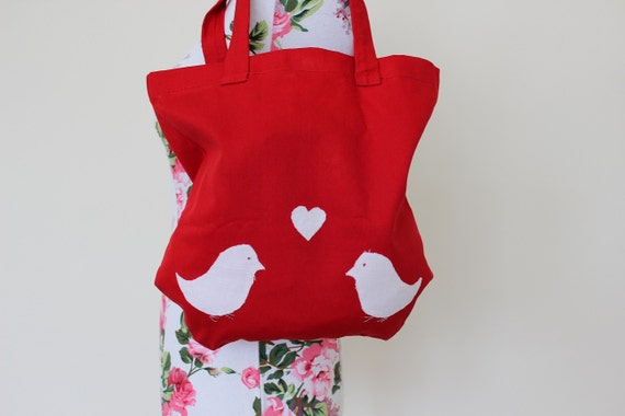 """Handmade red canvas tote shopper bag with stitched white love birds and heart 12""""x12.5"""""""