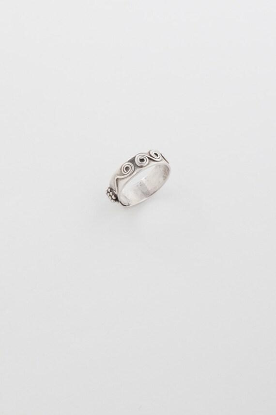 Wide Band Sterling Silver Embellished Ring