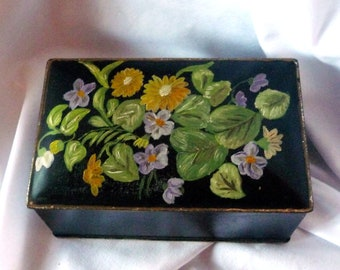 CANCO Tin Vintage Hand Painted Box Purple African Violets Yellow Daisies Black Gold