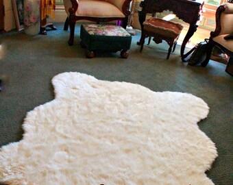 FAUX FUR Chubby Bear Skin Accent Rug - Animal Friendly Shag - Shaggy Sheepskin - Baby Nursery - Childrens Bedroom