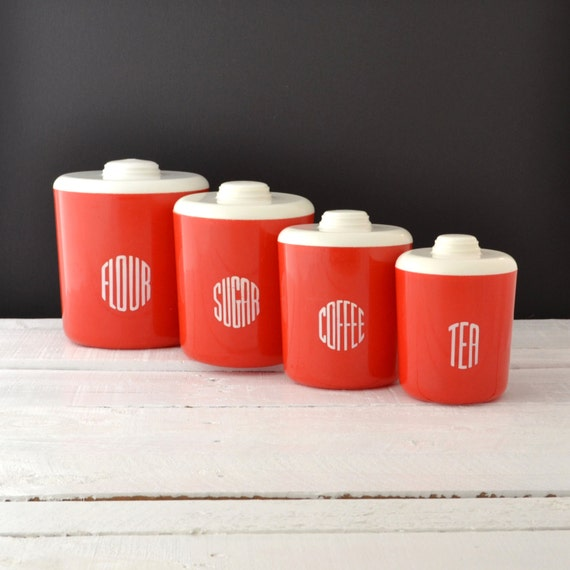 retro red kitchen canisters loma plastic canisters by kolorize