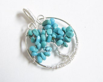 Turquoise Tree of Life Pendant December Birthstone