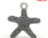 8 Starfish Charms - Silver - 21x19mm -  Ships IMMEDIATELY  from California - SC569