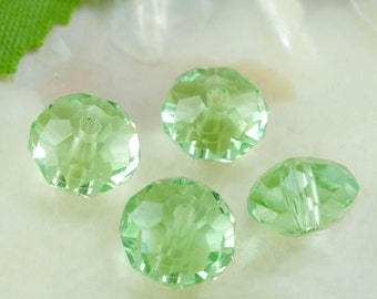 10 Green Rondelle Beads - Crystal Glass - Faceted - 8mm - Ships IMMEDIATELY from California  - B485