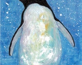 Penguin, Children, Nursery, Baby, Kids Room Decor, Gift  -  Original Watercolor/Acrylic Painting by ebsq Artist Ricky Martin FREE SHIPPING
