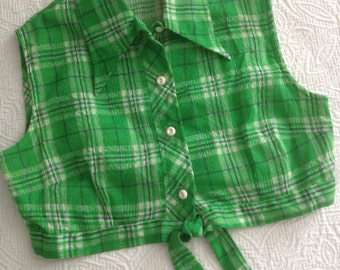 Vintage 1970s Crop Top by David Smith in Green Plaid