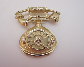 AJC Vintage Gold Plated Antique Telephone Brooch