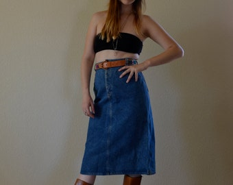 1970s SML/MED high waist dark blue jean denim skirt