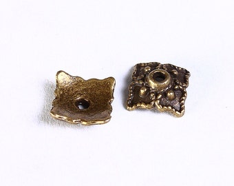 8mm antique bronze square bead caps - 8mm filigree beadcaps - Square beadcaps - Nickel free lead free (851) - Flat rate shipping