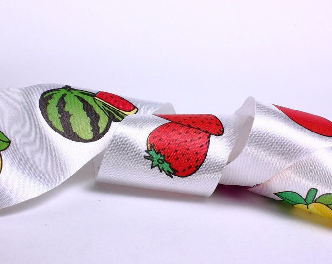 40mm fruit apple pear strawberry watermelon satin ribbon - 10 feet (R008) - Flat rate shipping