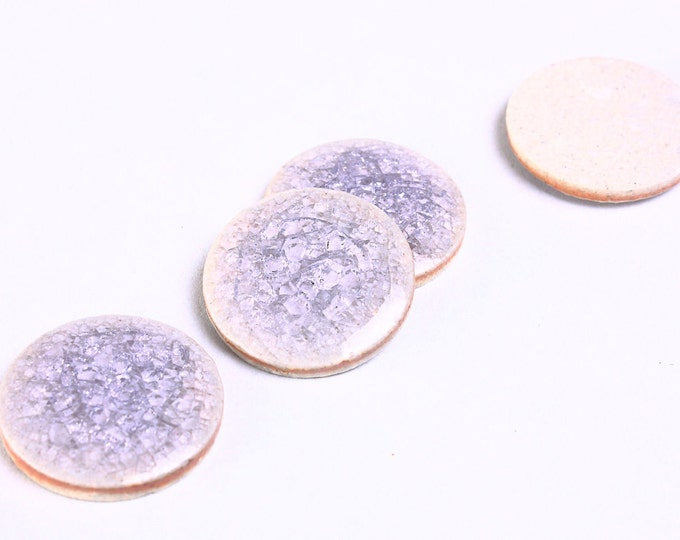 20mm purple handmade crackle cabochons - 20mm porcelain cabochons - 20mm round cabochons (930) - Flat rate shipping