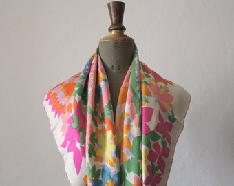 Jeanne LANVIN SCARF // Vintage French Silk Foulard // Neon Color