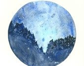 Starry Night Art Print, Circle Art, 8x11, Starry Night Painting, Landscape Painting, Deep Blue, Night Sky Painting