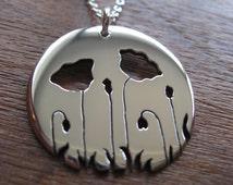 Silver Poppy Pendant Necklace