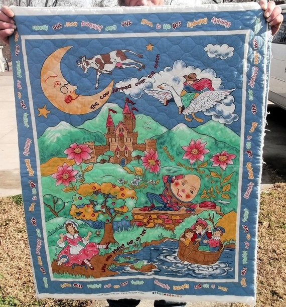 Items Similar To Nursery Rhyme Pre Quilted Fabric Panel