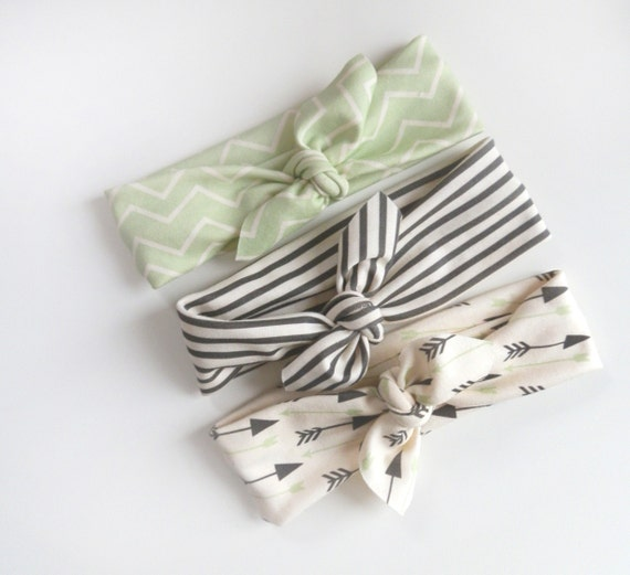 Little Hip Squeaks Headbands, The Dani Collection, Set Of 3, Black and White Stripes plus Seafoam Arrows, Toddler or Baby Headbands