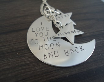 Personalized Love you to the Moon Necklace with Personalized Hanging Stars - Mom Necklace - Gift for her