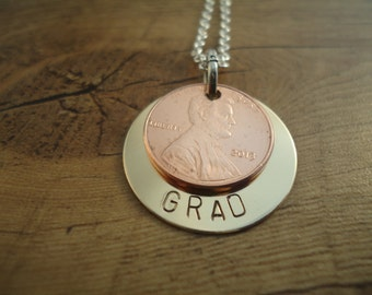 Grad Penny Necklace - Graduation Gift - Gift for Grad