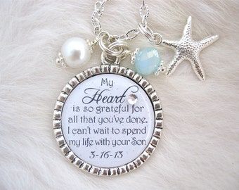 MOTHER of the Groom Gift Mother of Bride Keepsake BRIDAL GIFT Man of my Dreams pendant necklace Beach Jewelry Mil Gift  Thank you Wedding