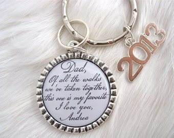 FATHER of the Bride, Keychain, DAD, Of All the Walks taken together Daddy's Little Girl Wedding Gift for Dad Keychain, Daughter, MOM, Son