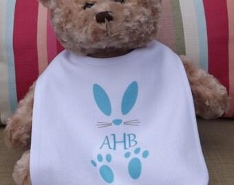 Monogram Bunny Baby Bib