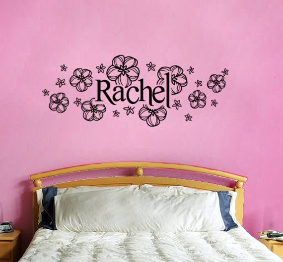 Name and flowers vinyl wall decal -custom name with flowers