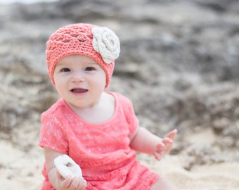 baby hat, baby girl hat, crochet baby hat, little girls hat, girls hat, coral hat
