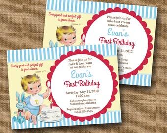 Vintage Baby's First Birthday Invitation | Retro Cake Invite | Vintage Baby Boy Graphic 1 | Christian Birthday Invitation | DIY PRINTABLE