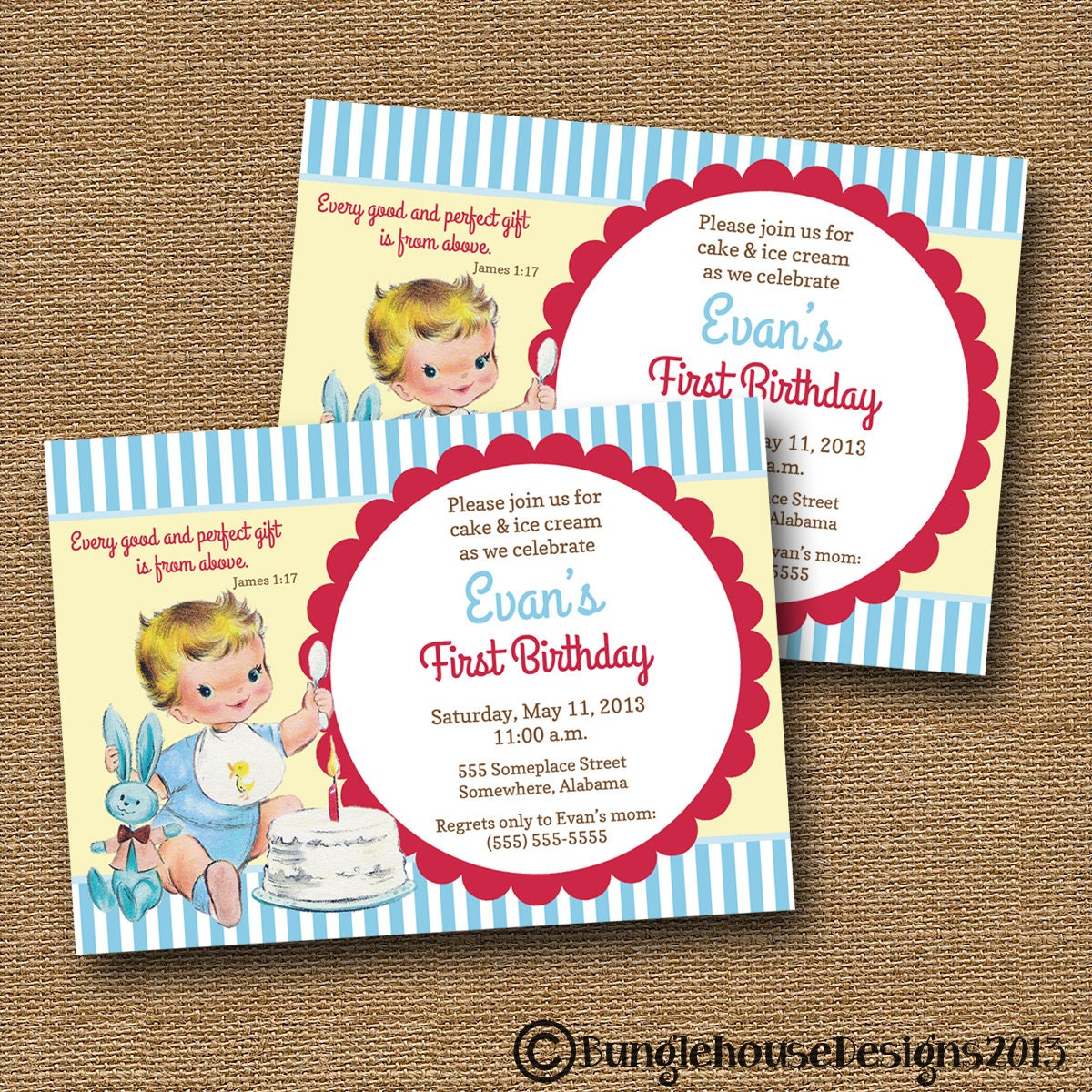 Vintage Babys First Birthday Invitation Retro Cake