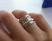 Set of 11 Sterling Silver Stacking Rings, 9 Smooth or Hammered Bands, 1 Large & 1 Small Bubble, custom made to order