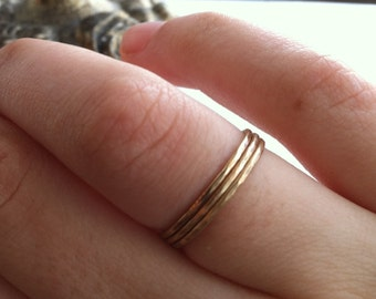 Set of 3 14k Yellow Gold Fill Stacking Rings, Hammered or Smooth, custom made to order