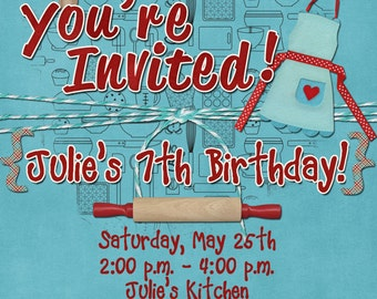 Baking Cooking Birthday Party Invitation