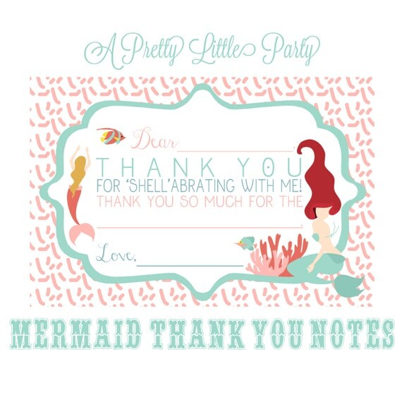 Mermaid Birthday Thank You Cards - Mermaid Party- Under the sea - INSTANT DOWNLOAD