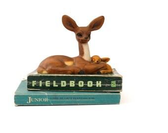 Doe, a deer, a female deer ceramic woodland creature, nursery art, babies room, nature art
