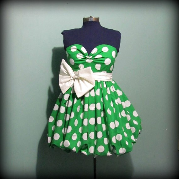 Womens Green and White Polka Dot Dress Vintage Inspired Full