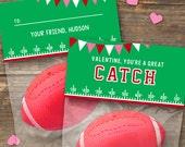Valentine's Day Gift Bag Topper - Football - DIY Printable - Kids