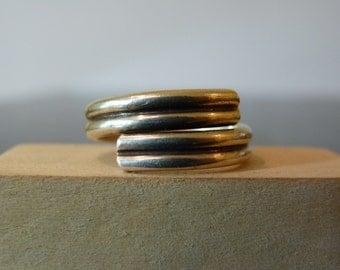SALE Vintage Silver Modern Adjustable Simple Wrap Ring